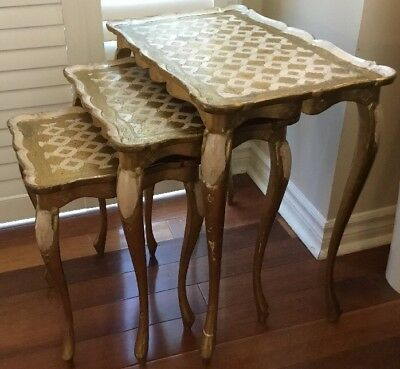 Antique Italian Tole Florentine Set of 3 Beautiful Nesting Side Tables