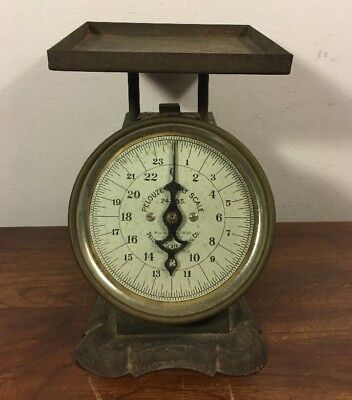 Antique Green Pelouze Kitchen Scale 24 Lbs Pat 1898 Glass Chicago W Graphics