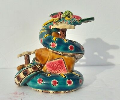 Vintage Chinese Feng Shui Hand Painted Snake