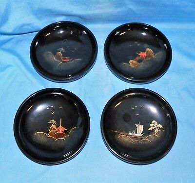 4 Laquerware Wooden Bowls Made in Japan