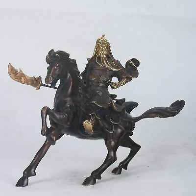 Chinese Copper Handwork Carved Guan Gong Riding a Horse Statue