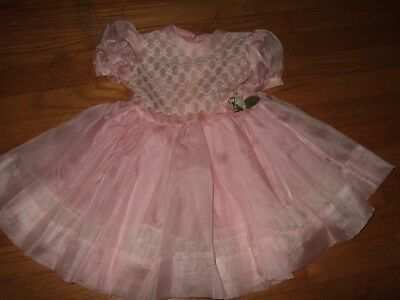 Vintage Daddy's Girl Sheer pink Embroidered Flowers Toddler Dress charmose 4T