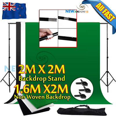 Photo Black White Chromakey Green Screen Backdrop Stand 1.6X2M Background Kit AU