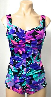 VINTAGE purple pink jade black FLORAL gathered centre lycra SPANDEX swimwear 10