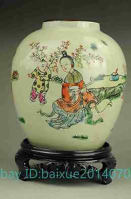 Chinese old famille rose porcelain hand painted woman child porcelain pot