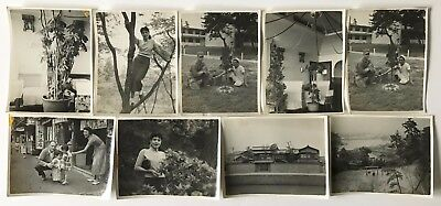 Vintage Lot of 9 Original Photographs of a Young Woman & Military People in Asia