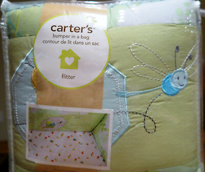 Brand New Carter's 4 pc Baby Crib Bumper in a Bag Flitter Collection Butterfly