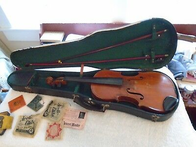 Vintage  Kerbren Copy of Stradivarius 1742, 2 broken bows, Case, 6 strings Parts