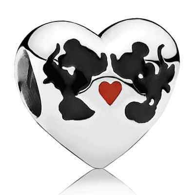 Genuine Pandora Disney Minnie & Mickey Kiss Charm - With/Without Pandora Box