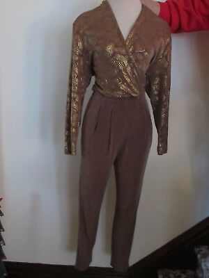 SLINKY 80s COCOA BROWN JUMPSUIT Gold Metallic Trim DISCO Catsuit Plunging Neck M