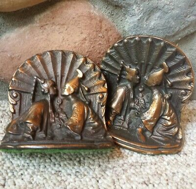 VTG Antique Bronze Egyptian Ceremonial Wedding Book Ends Egypt Sculpted Metal