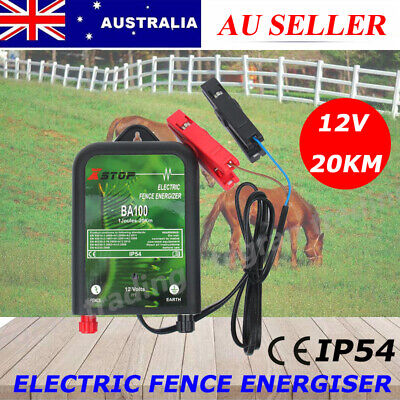 20km 12V Range Power Electric Fence Energiser Charger Poly Wire Tape Posts 1J AU