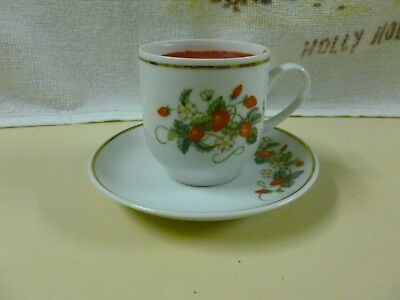 Vtg Avon Strawberry 22k Gold trim Tea Cup w/candle & matching saucer (1978)*NEW