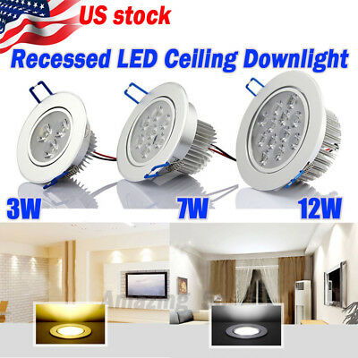 US Ship 6/12X 3W/7W/12W LED Downlight Ceiling Recessed Light Bult Lamp 110-220V