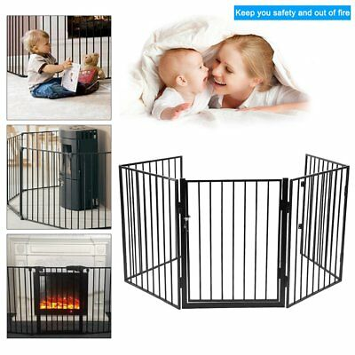 Extendable Fireplace Gate Fence Metal Hearth Fire Guard Kids Baby Pet Protection
