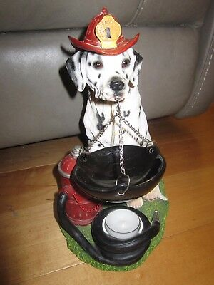 Dalmation Wearing Fire Helmet Sitting By Hydrant & Hose Holding Tart Warmer
