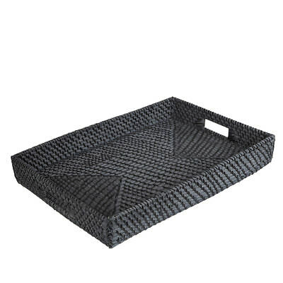 NEW Rattan Blackwash Rectangular Tray Medium