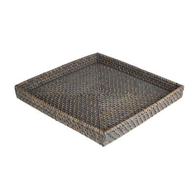 NEW Rattan Greywash Medium Square Tray