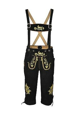 Bavarian Oktoberfest Lederhosen German Real Leather Black Matching long Short