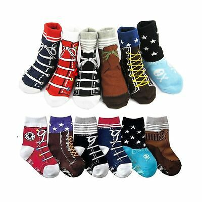 6 Pairs Baby Non Skid Shoe Socks Toddler Anti Slip Grip Cotton Crew Sock,12-2...