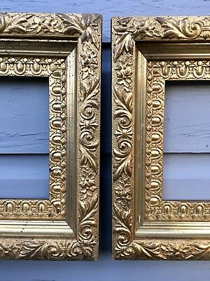 Matching Pair Gold Gilded Gilt Victorian Ornate Gesso Picture Frames fits 6x8