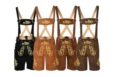 Oktoberfest Bavarian Lederhosen Men German Cowhide Real Leather Matching Short