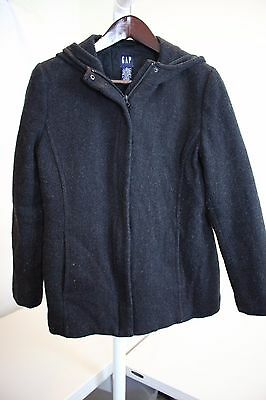 GAP Wool Blend Black Lined & Filled Full Zip & Buttoned Hooded Coat Size - Large