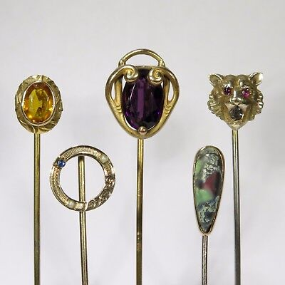 Lot of Five Antique Art Nouveau Victorian Stick Pin Stickpins (ET1706R)