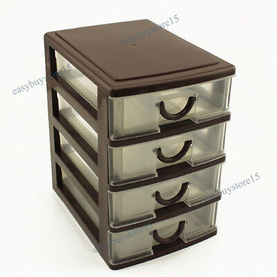 New 4 Layers Desktop Drawer Organizer Trays Office Desk Jewelry Storage Box Mini