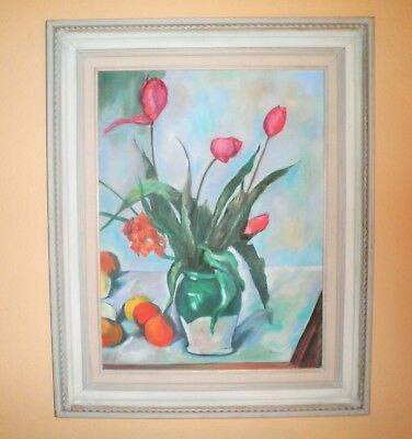 Vintage Gorgeous C. 1960'S IMPRESSIONIST SPRING FLORAL TULIPS OIL PAINTING