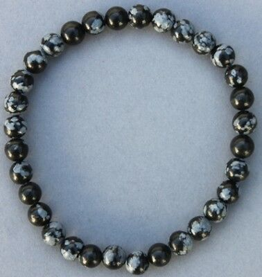 "Bracelet Obsidienne neige 6 mm ""Médium"""