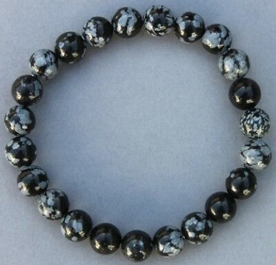 "Bracelet Obsidienne neige 8 mm ""Médium"""
