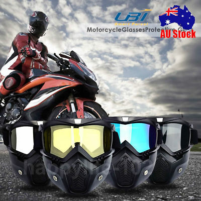 Motorcycle Half Helmet Modular Mask Detachable Goggles And Mouth Filter Face AU