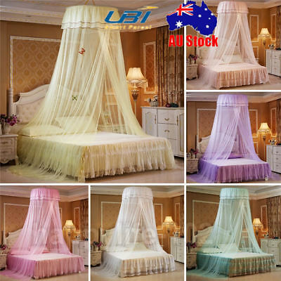 Elegant Princess Canopy Round Lace Bed Mosquito Netting Mesh Dome Bedding Net AU