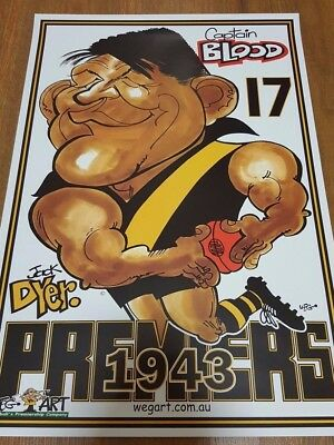 Jack Dyer Weg Poster 1943 Richmond Premiership Captain Blood Free Postage
