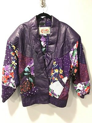 Avanti Fino Jacket Small Purple Leather Abstract Patchwork Vintage 80s VTG