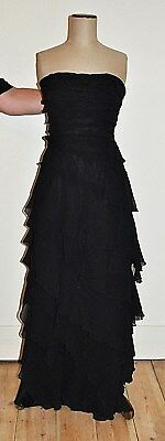 Vintage 80's/90's MISS ANNE Design Strapless Ruffled Tiered Evening,Formal Dress