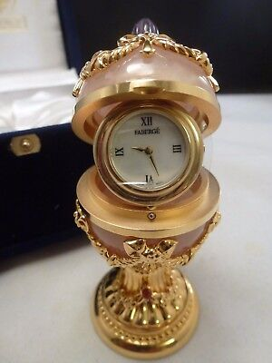 Faberge Imperial Laurel Rose Quartz Egg Clock - New Box