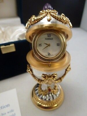 Faberge Imperial Easter Gold Silver Tone   Egg Clock - New Box