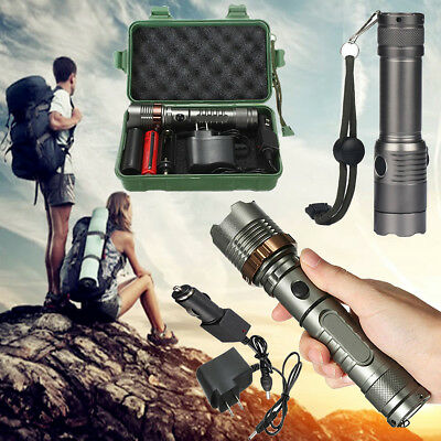40000LM Tactical XM-L T6 LED Rechargeable Zoomable Flashlight 18650 Torch Lamp