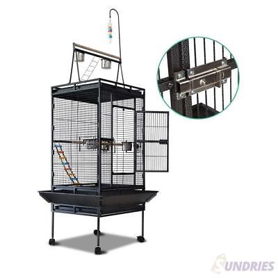 Large Bird Cage Parrot Aviary Pet Stand-alone Budgie Perch Castor Wheels 173cm