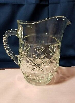 Vintage Clear Glass Pitcher Creamer Star Burst Ribbed Handle