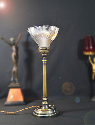 Stunning 1910 Edwardian cast Bronze Classic table lamp prismatic holophane shade