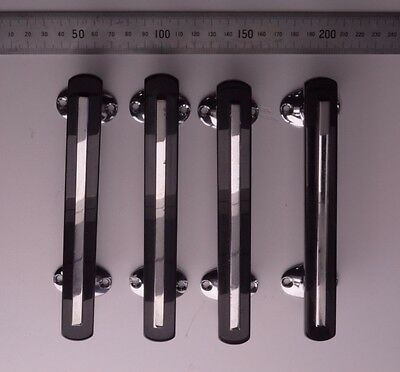 Ref 26 - 4 long retro Wilbec Lucite door handles. Black and chrome-plated