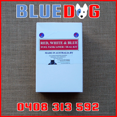 Motorcycle Motorbike Fuel Petrol Gas Tank Liner sealer  Red White And Blue