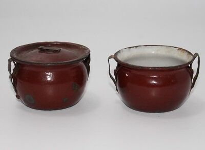 2x antike Emaille Töpfe Topf Puppenküche  ca. 1910  #J950
