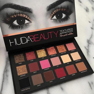 Huda Beauty Textured Eye Shadows Palette 18 Colours - Rose Gold Edition New