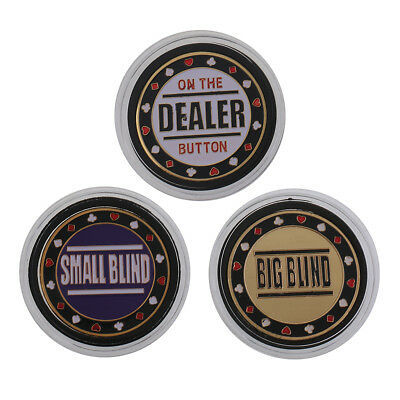 3x Metal Token Coin Small Big Blind Dealer Poker Chips Cards Guard Protector
