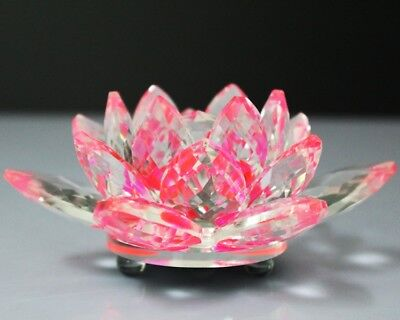 Large Crystal Cut Lotus Candle Ornament Flower With Gift Box Pink Clear Colour