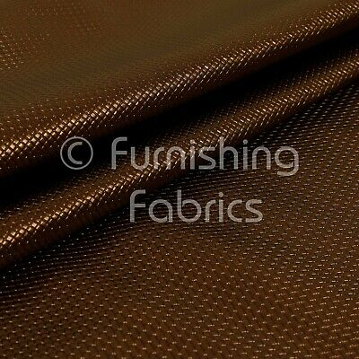 Mini Quilted Textured Plain Durable Leather Shiny Brown Vinyl Upholstery Fabric